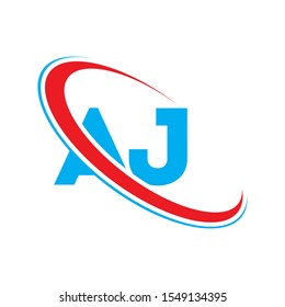 AJ Letter logo design, AJ Letter, AJ vector, AJ icon. initial letter logo colored red and blue, Vector logo design template elements for your business or company identity.