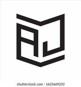 AJ Logo Emblem Monogram With Shield Style Design Template Isolated On white Background