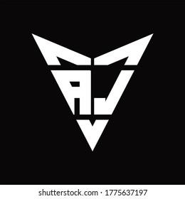 AJ Logo monogram with back drop shape logo design template