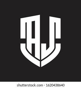 AJ Logo monogram with emblem shield shape design isolated on black background