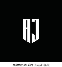 AJ logo monogram with emblem style isolated on black background