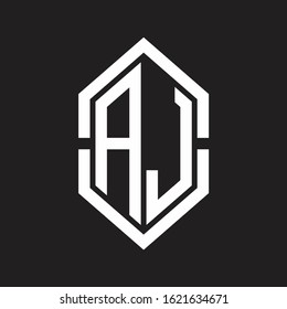AJ Logo monogram with hexagon shape and outline slice style with black and white
