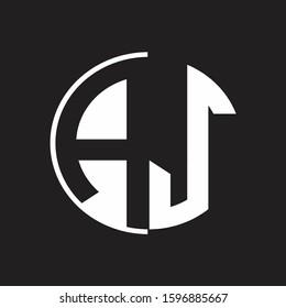 AJ Logo monogram with Negative space style design tempate