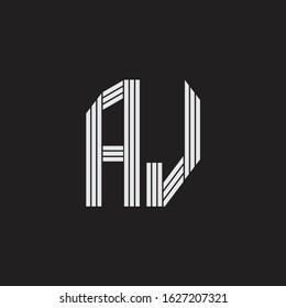 AJ Logo monogram with outline style linked isolated on black background