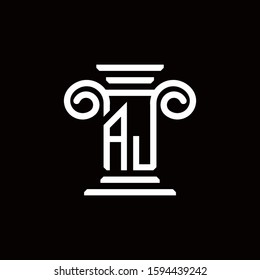 AJ logo monogram with pillar style design template