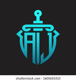 AJ Logo monogram with sword and shield combination isolated blue colors gradient