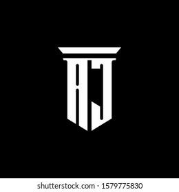 AJ monogram logo with emblem style isolated on black background