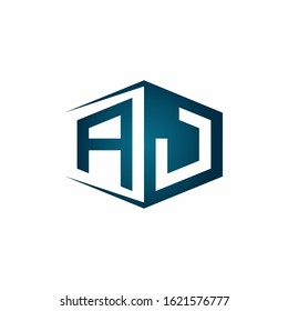 AJ monogram logo with hexagon shape and negative space style ribbon design template