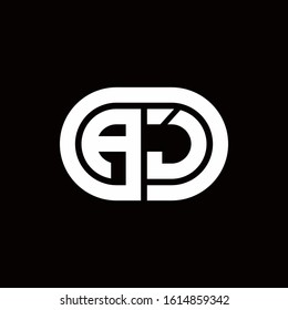 AJ monogram logo with an oval style on a black background