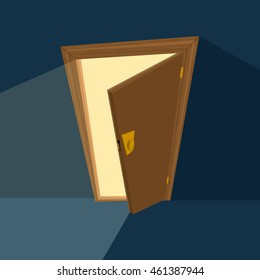 ajar door on dark blue background. Flat illustration. Vector