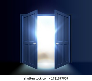 Ajar double door with light and rays of the sun coming out of the gap. Vector illustration.