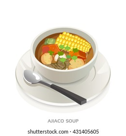 Ajiaco soup bowl-Colombian soup vector