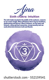 Ajna Chakra symbol on indigo watercolor dot, vector illustration. The Third Eye Chakra