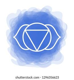 Ajna icon. The sixth frontal chakra. Third eye. Vector indigo blue smoky circle. Line symbol. Sacral sign. Meditation