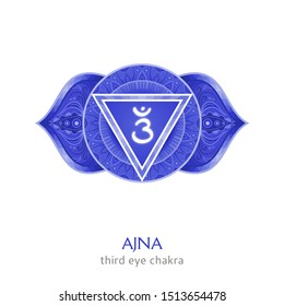 Ajna, third eye chakra symbol. Colorful mandala. Vector illustration