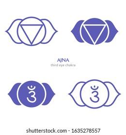 Ajna, third eye chakra symbol. Colorful mandala. Vector illustration