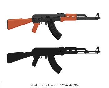 AK 47 Kalashnikov machine gun isolated on white. Flat design. Military automatic rifle silhouette. Vector illustration