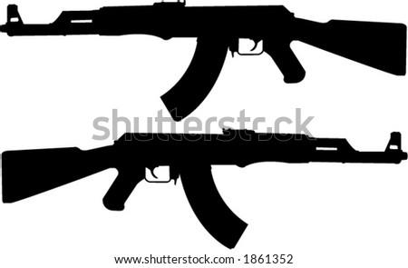 ak 47 russian gun silhouette vector stock vector royalty free