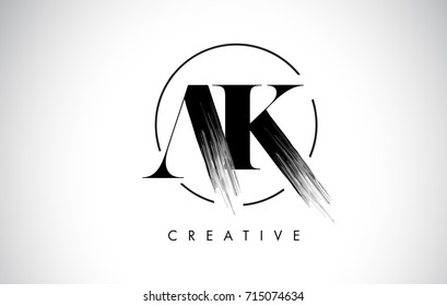 AK Brush Stroke Letter Logo Design. Black Paint Logo Leters Icon with Elegant Circle Vector Design.