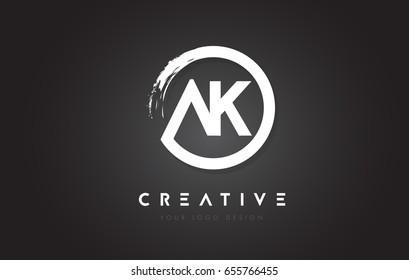AK Circular Letter Logo with Circle Brush Design and Black Background.