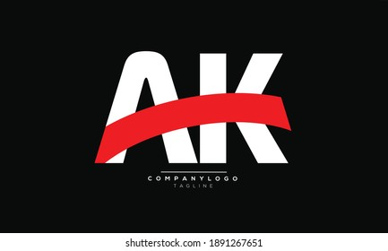 AK icon monogram letter text alphabet logo design
