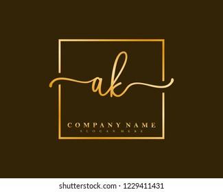 AK Initial handwriting square minimalist logo vector