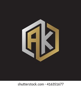AK initial letters loop linked hexagon elegant logo golden silver black background