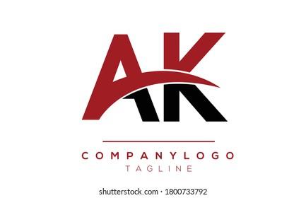 AK initials monogram letter text alphabet logo design