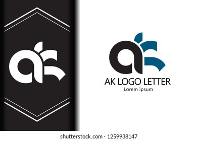 ak a k black blue white lowercase modern creative alphabet combination for company letter logo design vector icon template - Vector