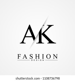 AK A K cutting and linked letter logo icon with paper cut in the middle. Creative monogram logo design. Fashion icon design template.
