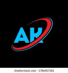 AK A K letter logo design. Initial letter AK linked circle uppercase monogram logo red and blue. AK logo, A K design. ak, a k