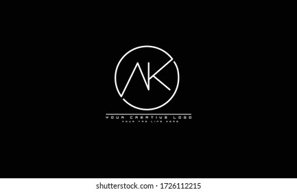 AK KA abstract vector logo monogram template