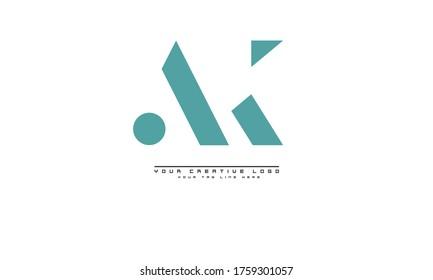 AK KA abstract vector logo monogram template