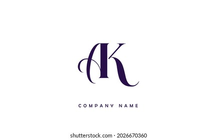 AK, KA Alphabets Letters Logo Monogram