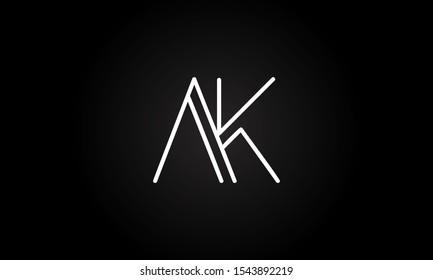 AK or KA initial based letter icon logo Unique modern creative elegant geometric fashion brands black and white color