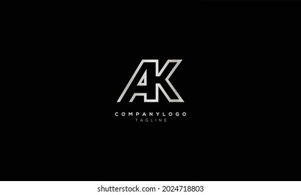 AK KA A AND K Abstract initial monogram letter alphabet logo design