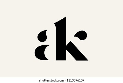 ak ka a k Lowercase Letter Initial Logo Design Template Vector Illustration