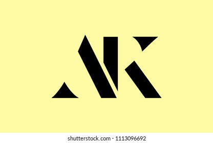 AK KA A K Uppercase Letter Initial Logo Design Template Vector Illustration