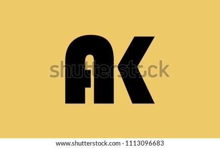 ak ka k uppercase letter initial stock vector royalty free