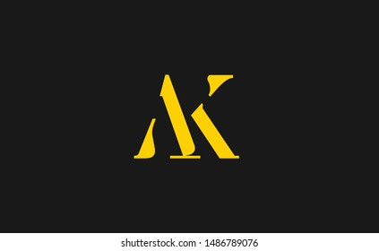 AK, KA Letter Logo Design with Creative Modern Trendy Typography