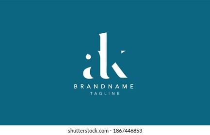 ak ka Lowercase Letter Initial Logo Design Template Vector Illustration