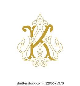 AK or KA Vintage golden monogram