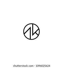 AK letter with circle concept logo