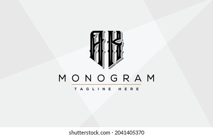 AK Letter Initial Logo Design Template Vector Illustration