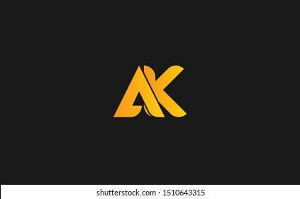 AK Letter Logo Design with Creative Modern Trendy Typography