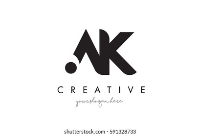 AK Letter Logo Design with Creative Modern Trendy Typography and Black Colors.