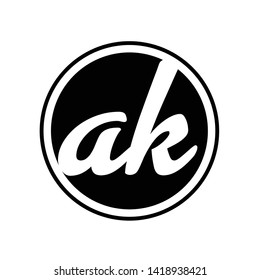 AK Letter Logo Design. A K logo Design Vector Illustration - Vector