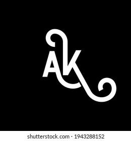 AK letter logo design on black background. AK creative initials letter logo concept. ak icon design. AK white letter icon design on black background. A K