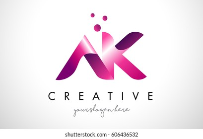AK Letter Logo Design Template with Purple Colors and Dots