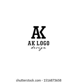 AK Letter Logo Design with white square Background and Serif Font Vector Illustration. - Vector